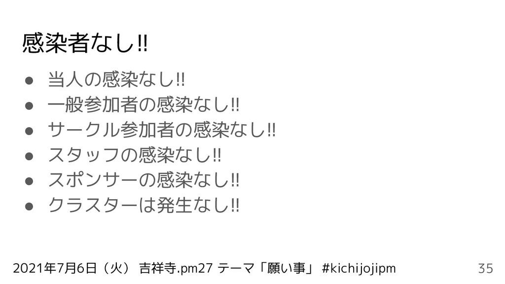 2021年7月6日(火) 吉祥寺.pm27 テーマ「願い事」 #kichijojipm 感染者...