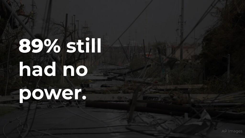 89% still had no power. AP Images