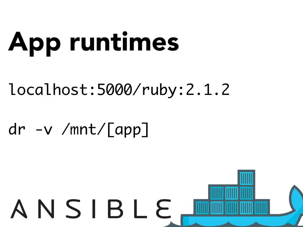 App runtimes localhost:5000/ruby:2.1.2 dr -v /m...