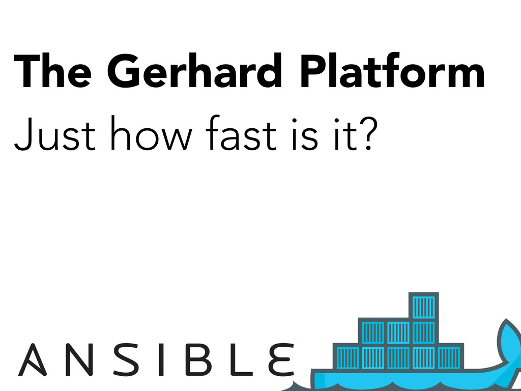 The Gerhard Platform Just how fast is it? Very.