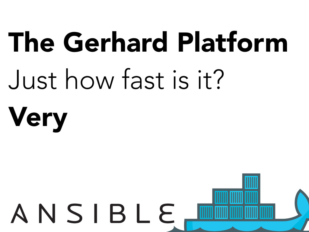 The Gerhard Platform Just how fast is it? Very