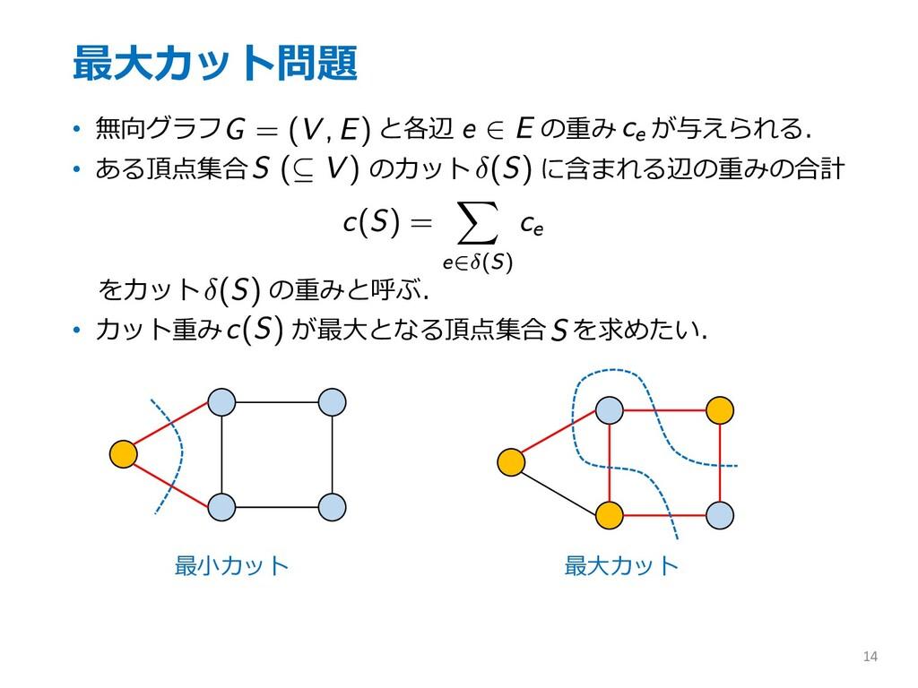 最⼤カット問題 • 無向グラフ と各辺 の重み が与えられる. • ある頂点集合 のカット に...