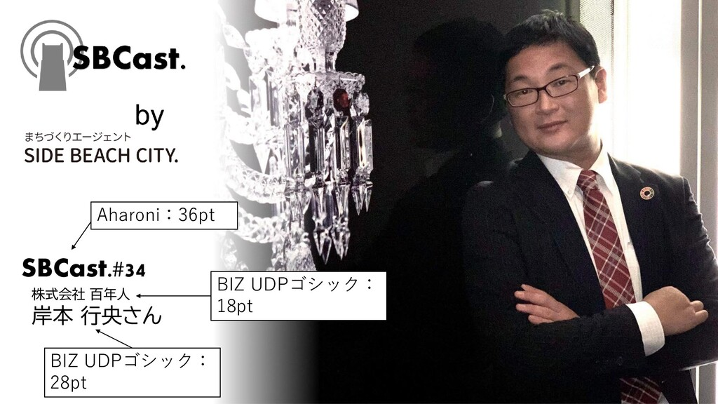 SBCast.#34 株式会社 百年人 岸本 行央さん Aharoni:36pt BIZ UD...