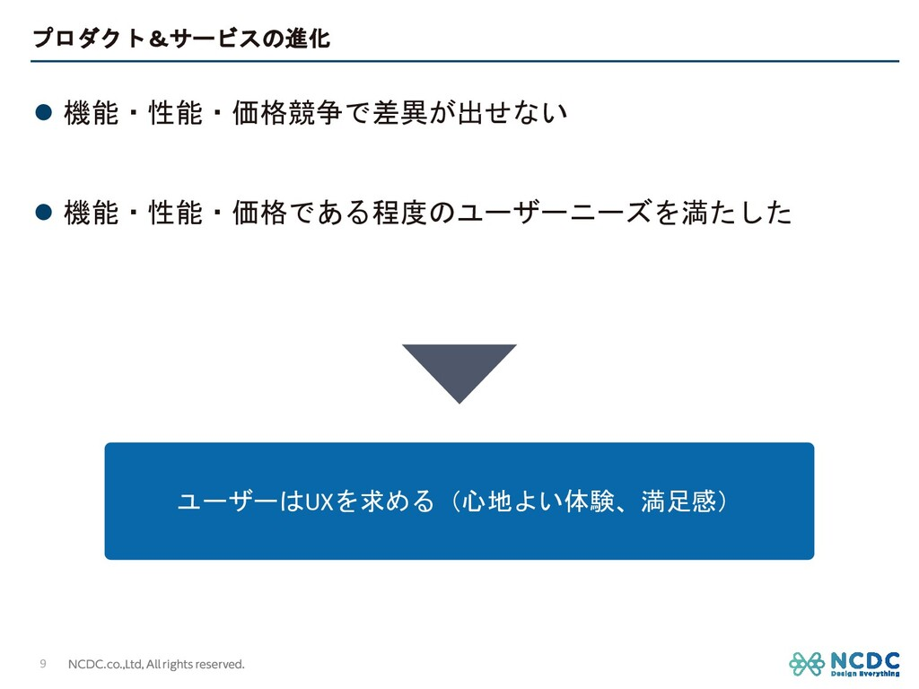 プロダクト&サービスの進化 l 機能・性能・価格競争で差異が出せない l 機能・性能・価格であ...