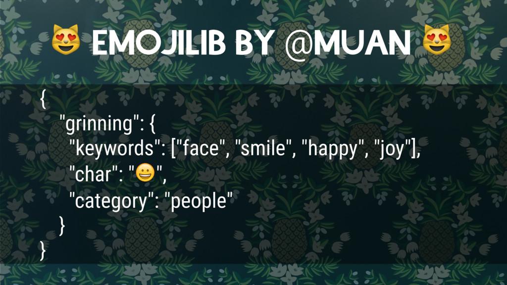 """EMOJILIB BY @MUAN  { """"grinning"""": { """"keywords"""":..."""
