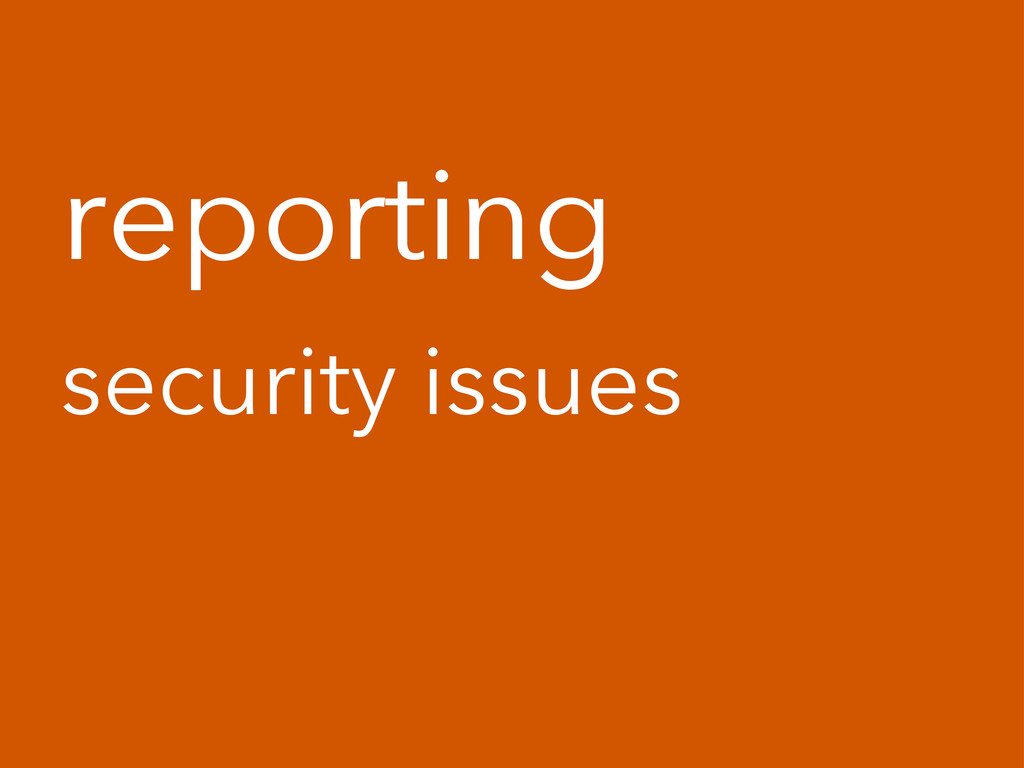 reporting security issues