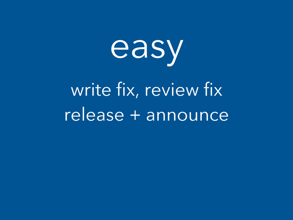 easy write fix, review fix release + announce