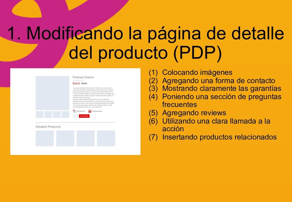 1. Modificando la página de detalle del product...
