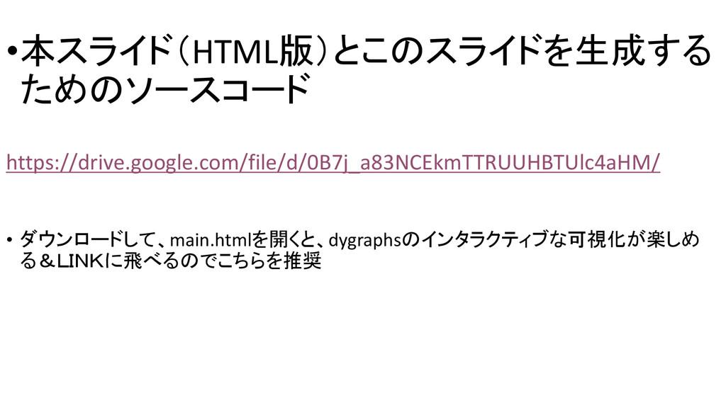 •本スライド(HTML版)とこのスライドを生成する ためのソースコード https://dri...