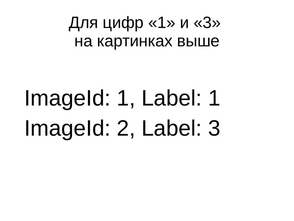 Для цифр «1» и «3» на картинках выше ImageId: 1...
