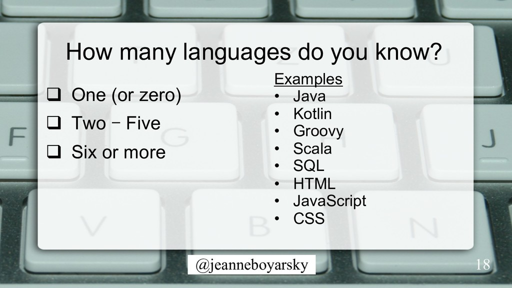 @jeanneboyarsky How many languages do you know?...