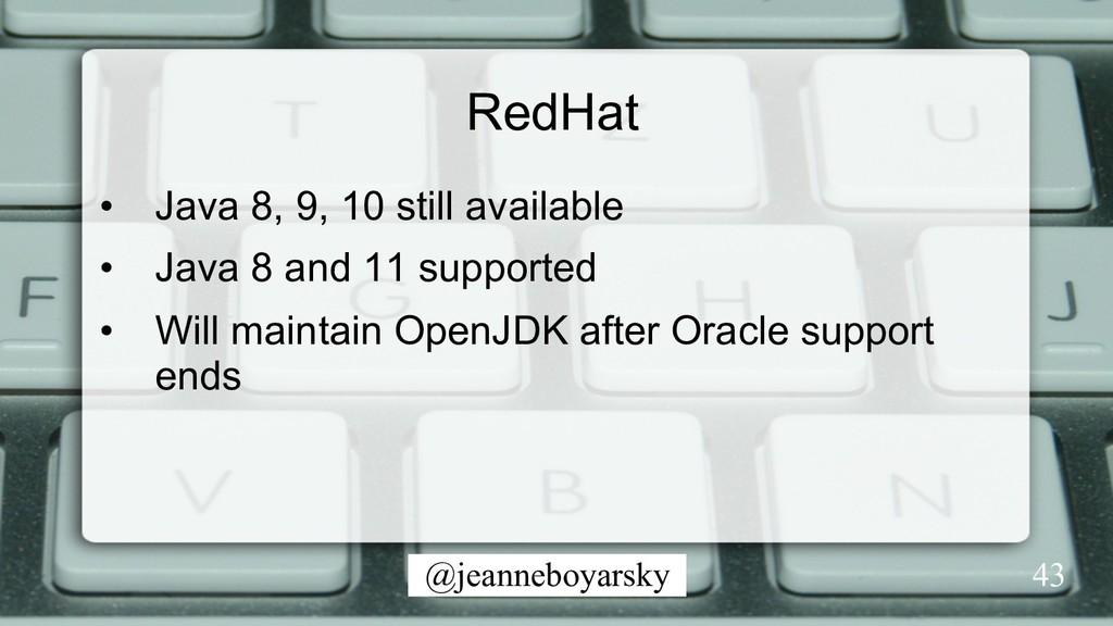 @jeanneboyarsky 43 RedHat • Java 8, 9, 10 stil...