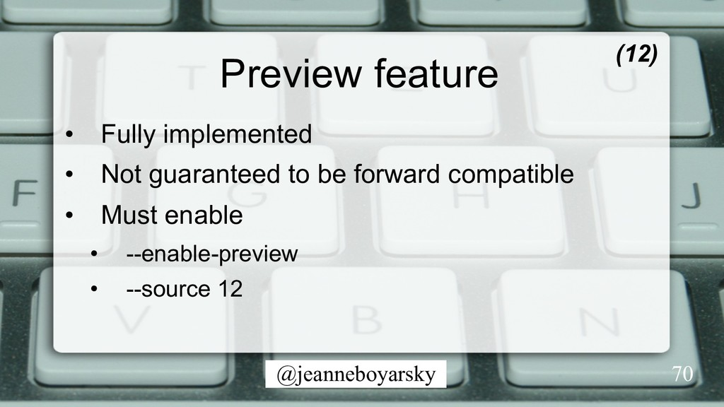 @jeanneboyarsky Preview feature • Fully implem...