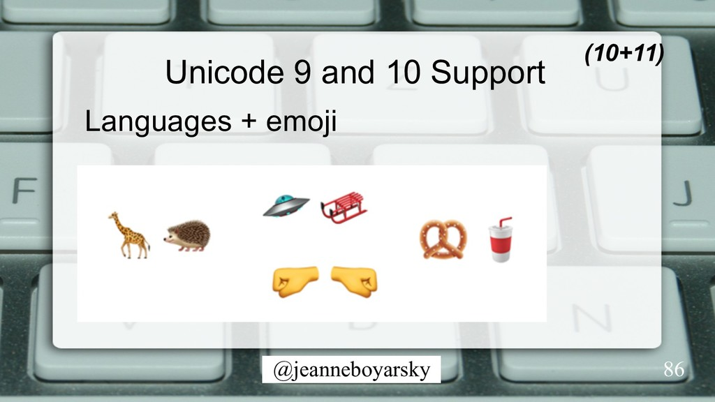 @jeanneboyarsky Unicode 9 and 10 Support Langua...