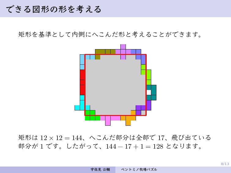 8/13 できる図形の形を考える 矩形を基準として内側にへこんだ形と考えることができます。 矩...