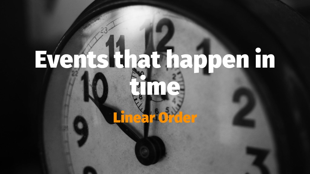 Events that happen in time Linear Order