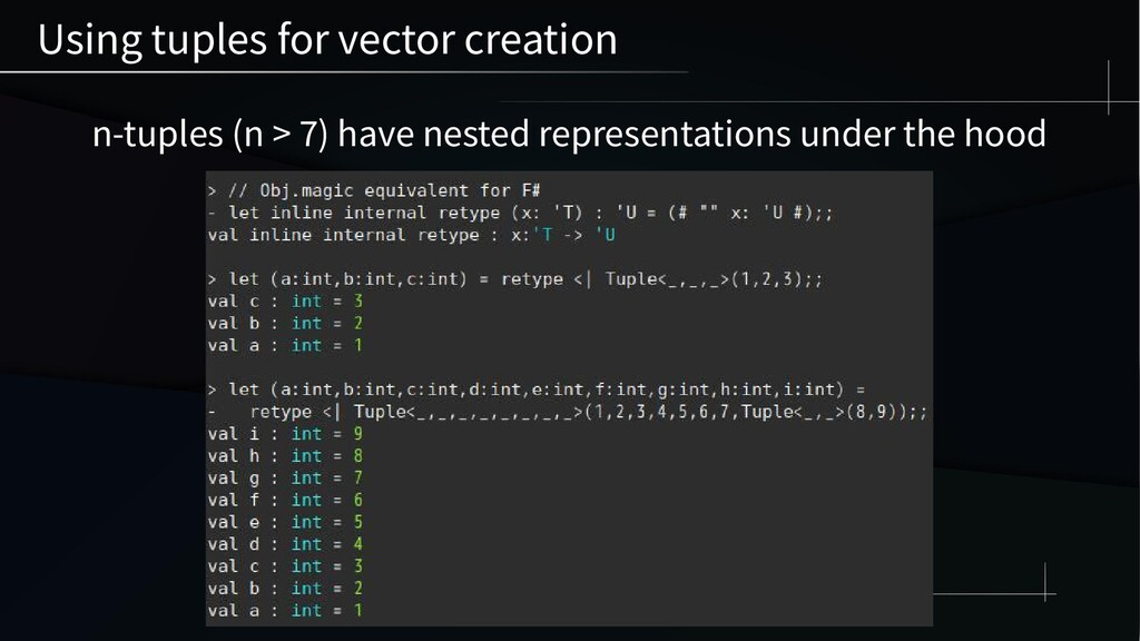 n-tuples (n > 7) have nested representations un...