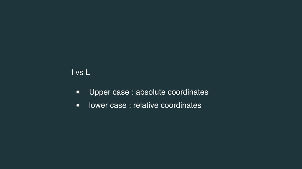 l vs L • Upper case : absolute coordinates • lo...