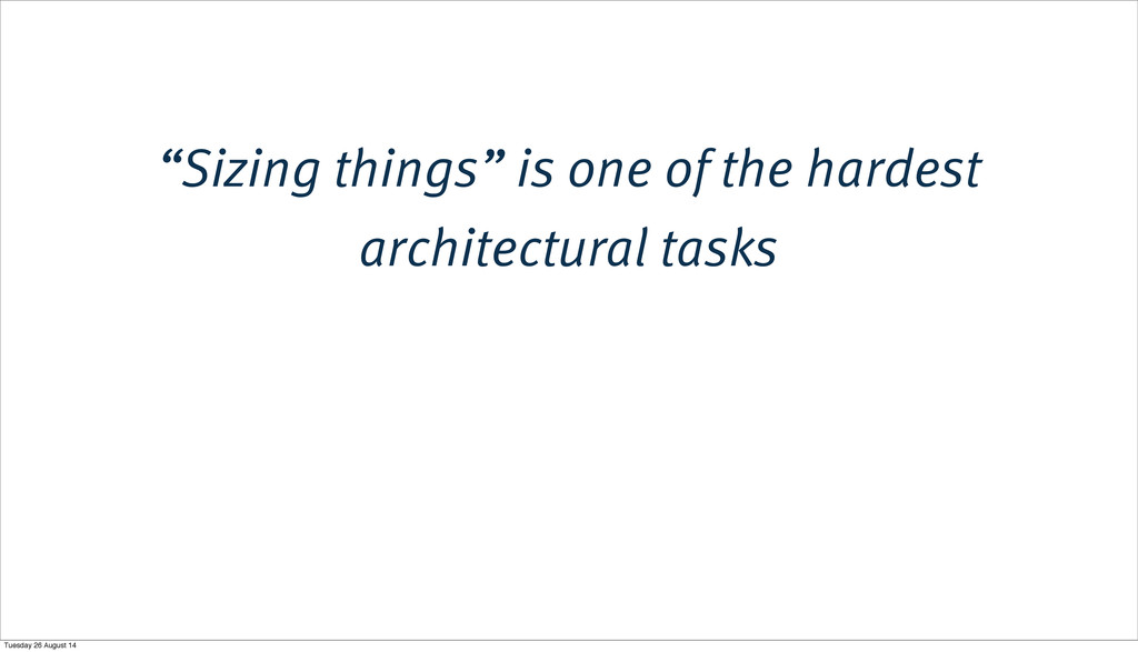 """Sizing things"" is one of the hardest architect..."