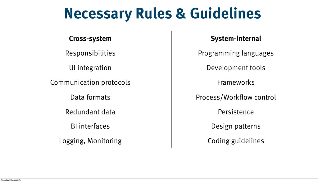Necessary Rules & Guidelines Cross-system Syste...