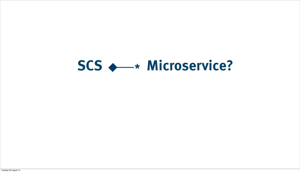 Microservice? SCS * Tuesday 26 August 14