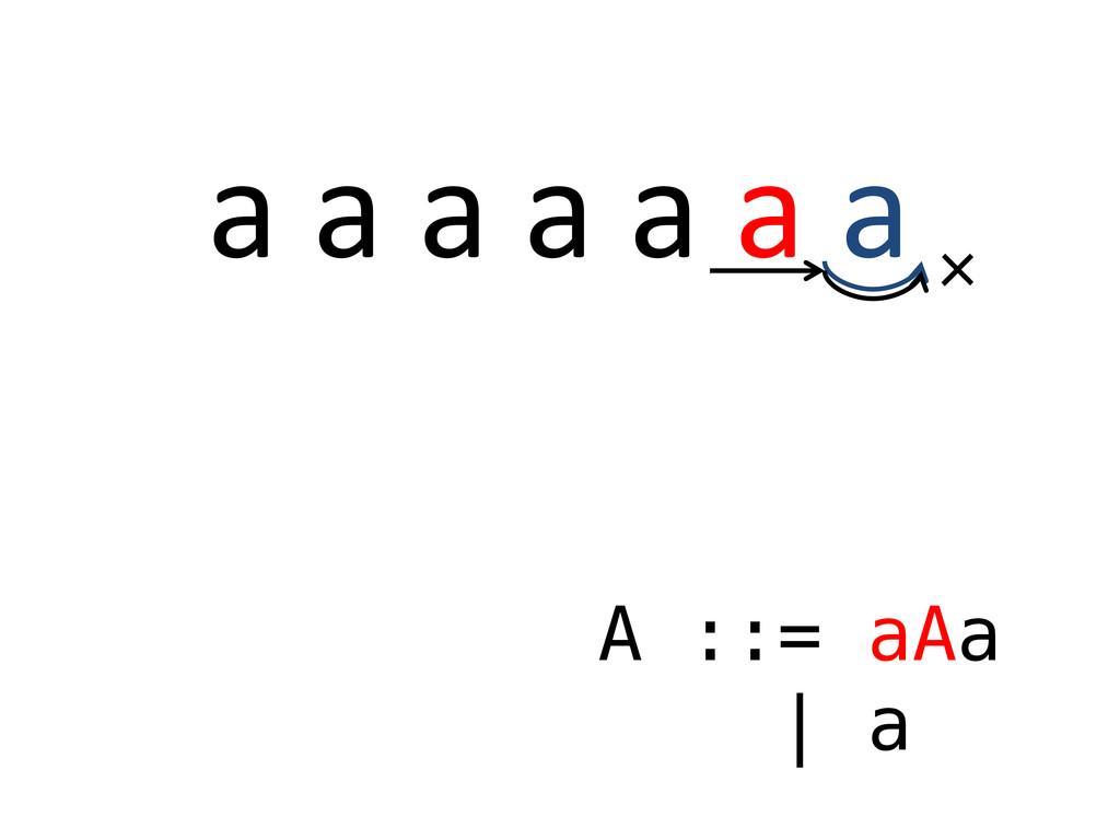 a a a a a a a A ::= aAa | a ×