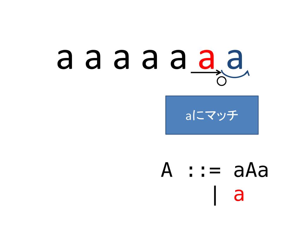 a a a a a a a A ::= aAa | a ○ aにマッチ