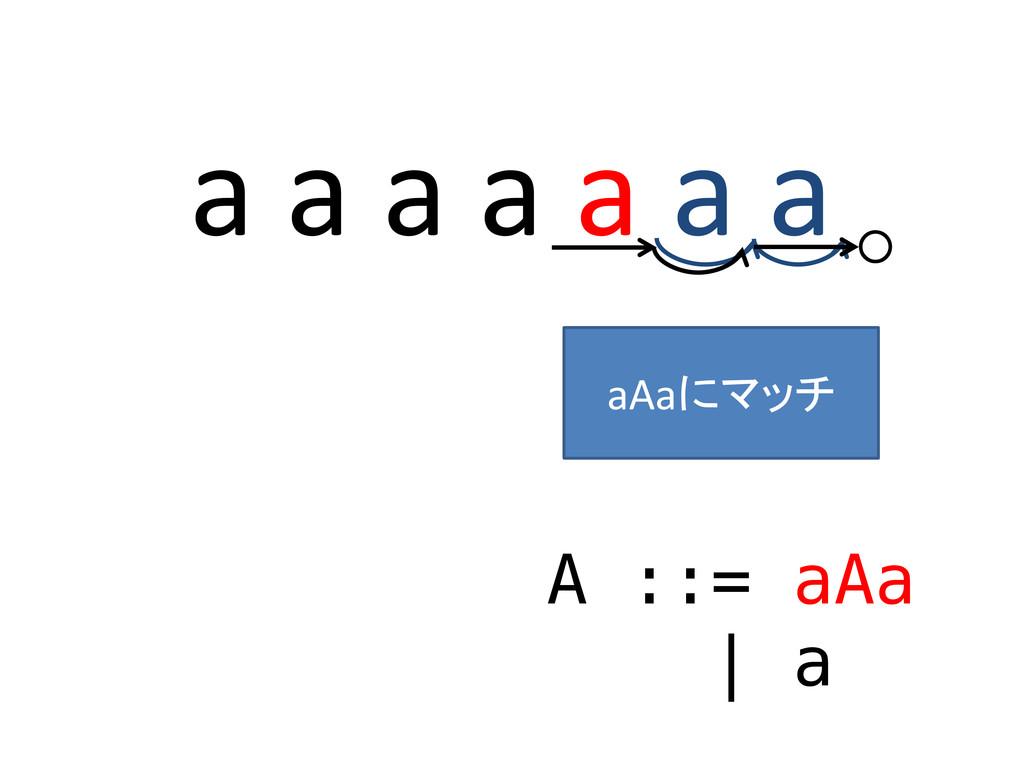 a a a a a a a A ::= aAa | a ○ aAaにマッチ