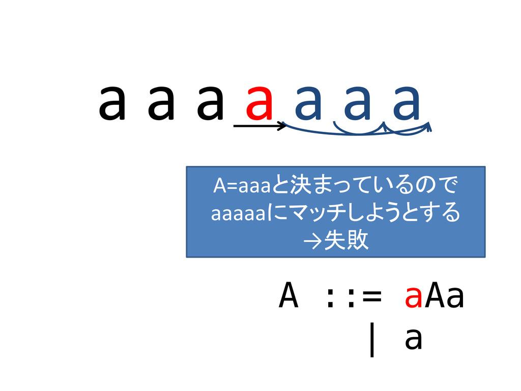 a a a a a a a A ::= aAa | a A=aaaと決まっているので aaaa...