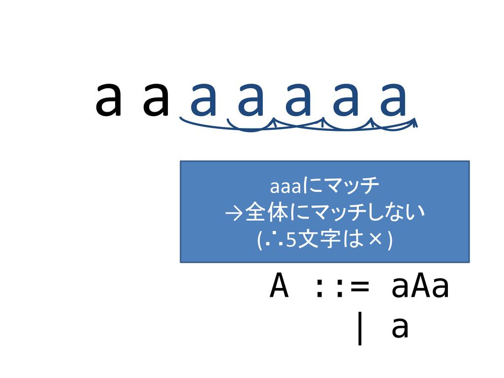 a a a a a a a A ::= aAa | a aaaにマッチ →全体にマッチしない ...