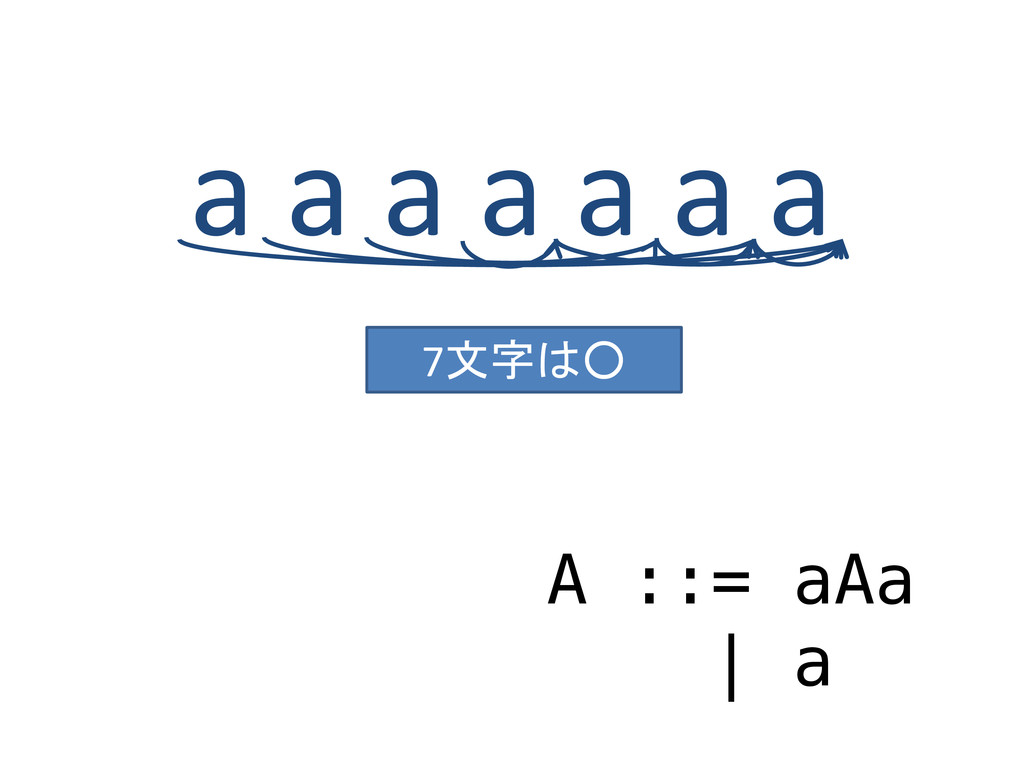 a a a a a a a A ::= aAa | a 7文字は○