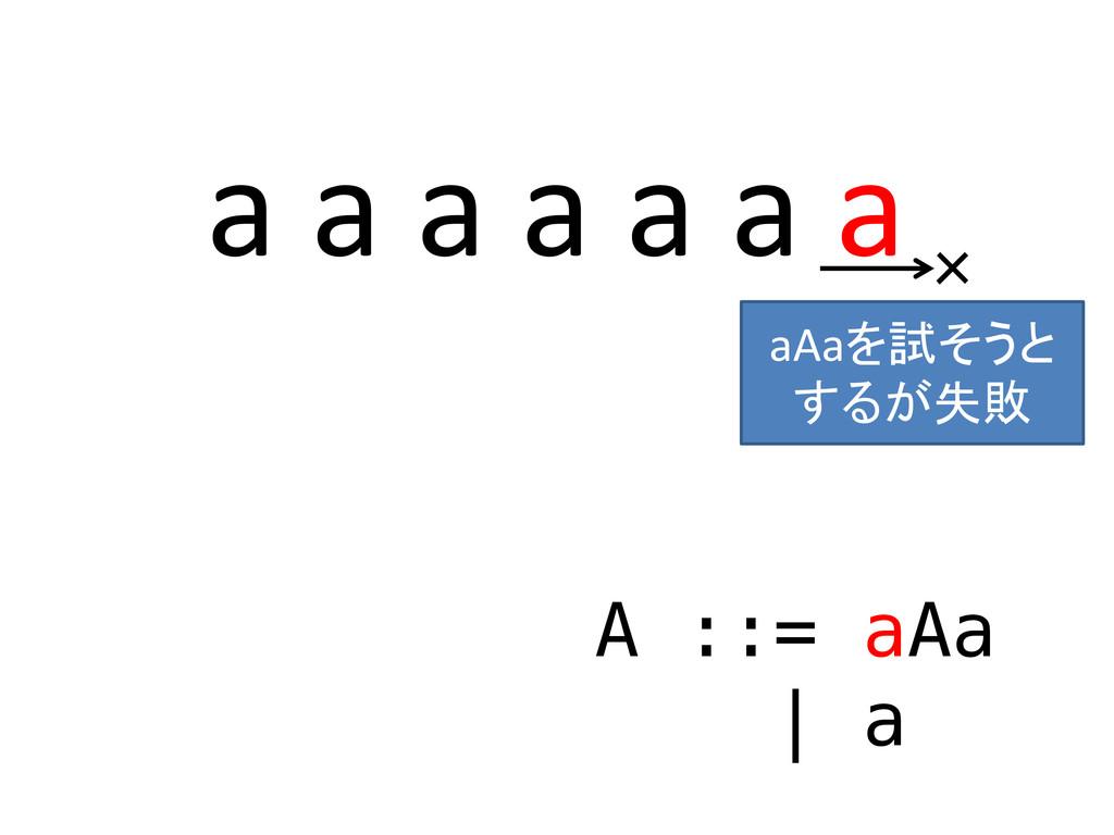 a a a a a a a A ::= aAa | a × aAaを試そうと するが失敗