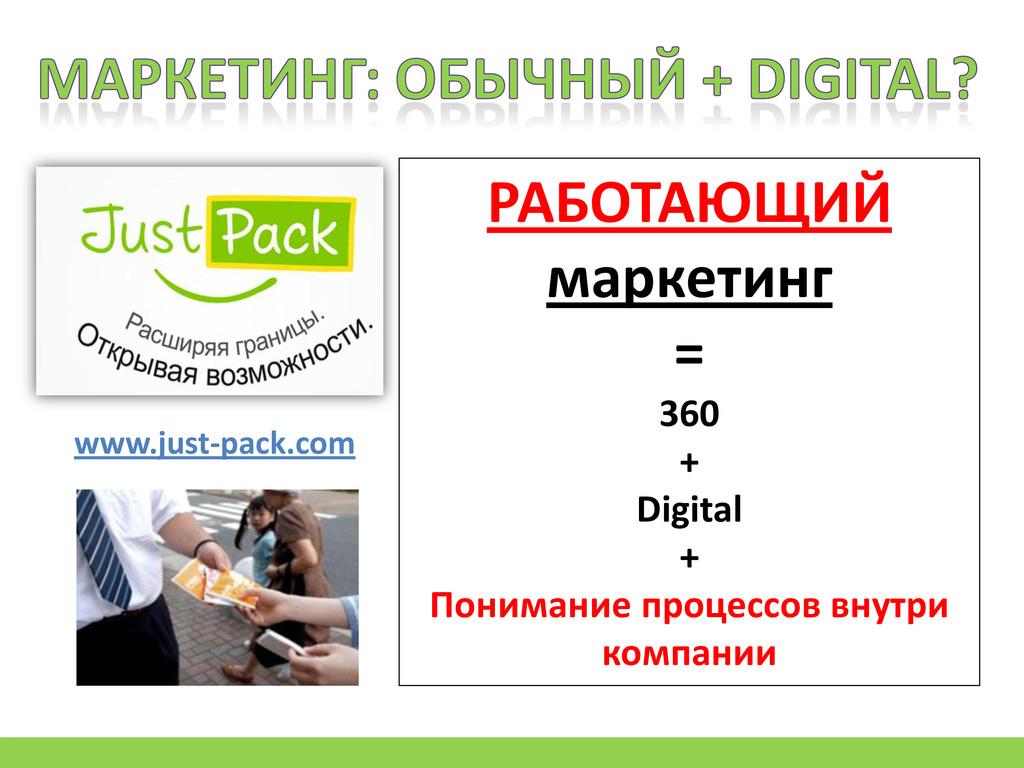 www.just-pack.com РАБОТАЮЩИЙ маркетинг = 360 + ...