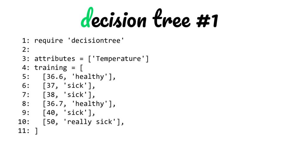 #1 1: require 'decisiontree' 2: 3: attributes =...