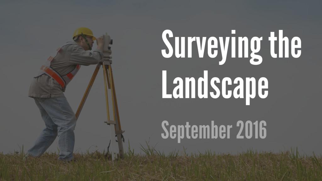 Surveying the Landscape September 2016
