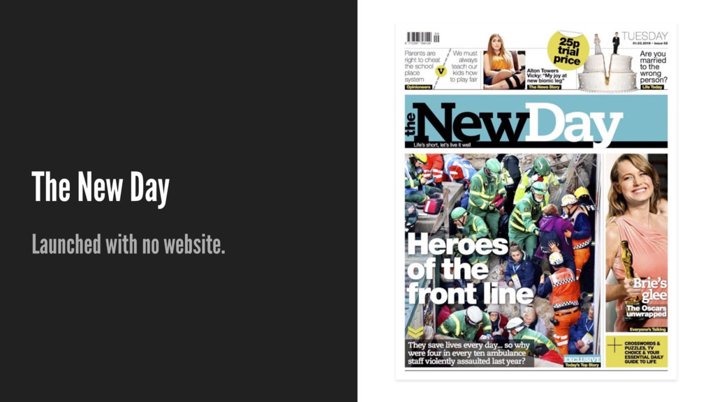 The New Day Launched with no website.