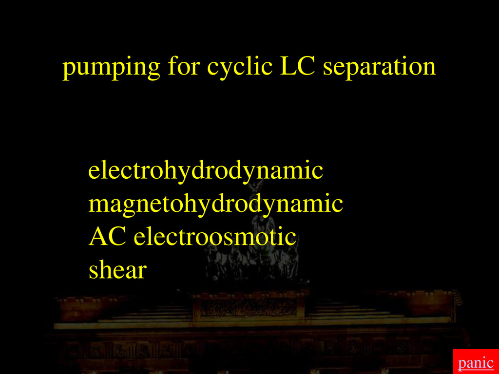 pumping for cyclic LC separation electrohydrody...