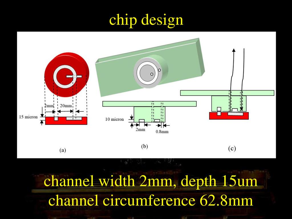 chip design channel width 2mm, depth 15um chann...