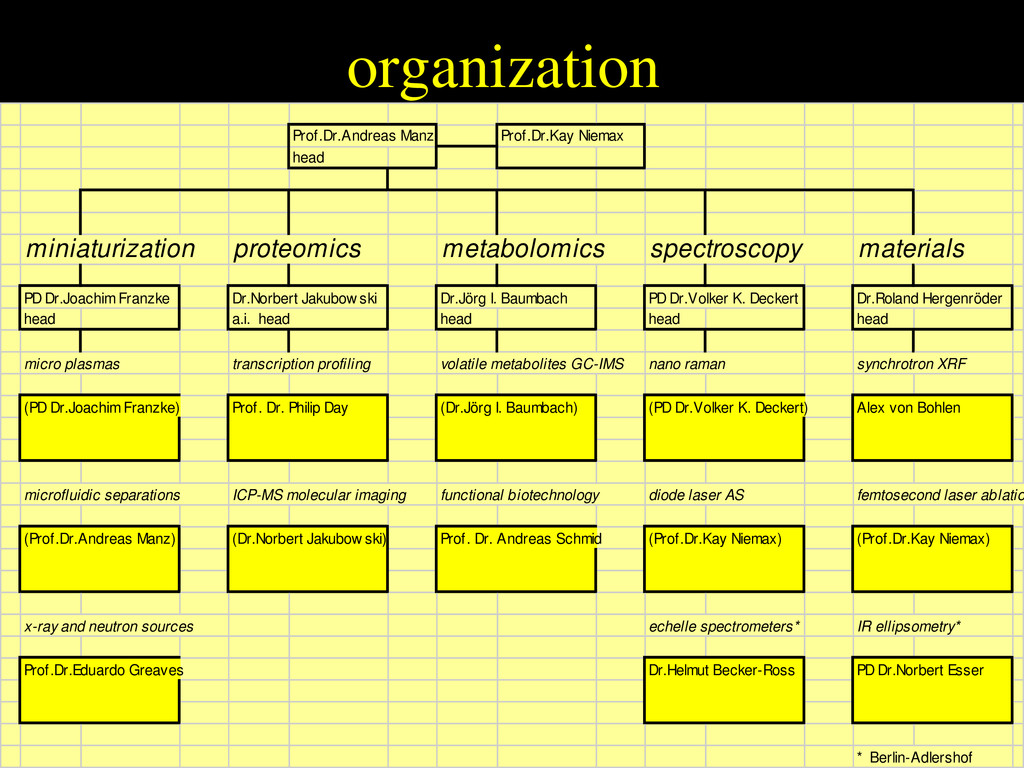 organization Prof.Dr.Andreas Manz Prof.Dr.Kay N...