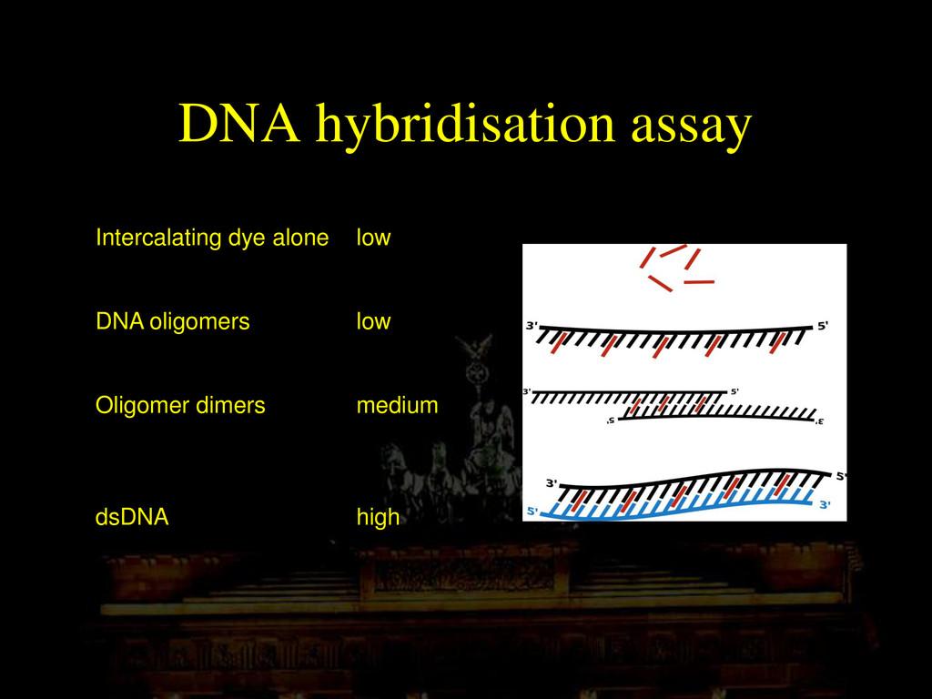 DNA hybridisation assay Intercalating dye alone...