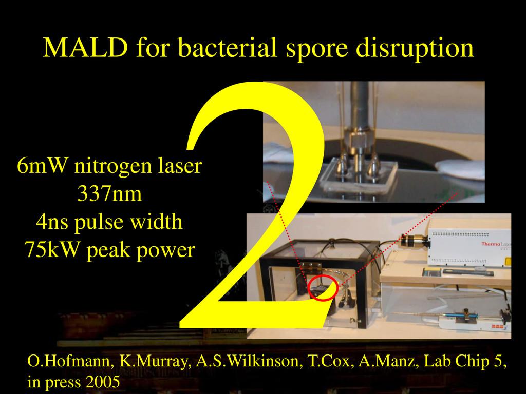 MALD for bacterial spore disruption O.Hofmann, ...