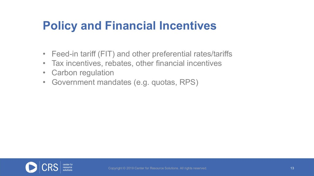 13 • Feed-in tariff (FIT) and other preferentia...