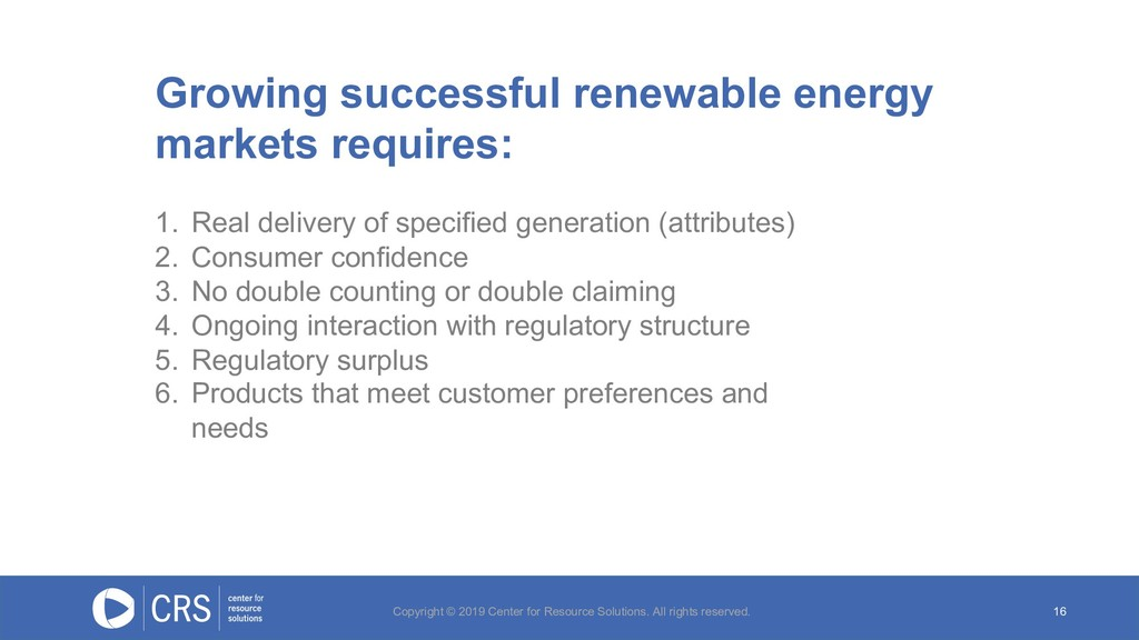 16 Growing successful renewable energy markets ...