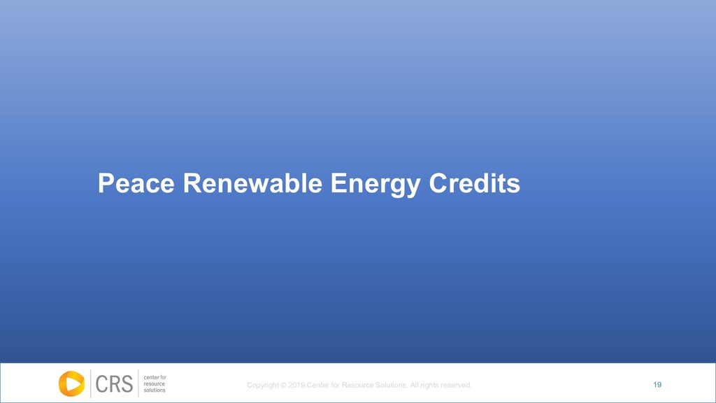 19 Peace Renewable Energy Credits Copyright © 2...