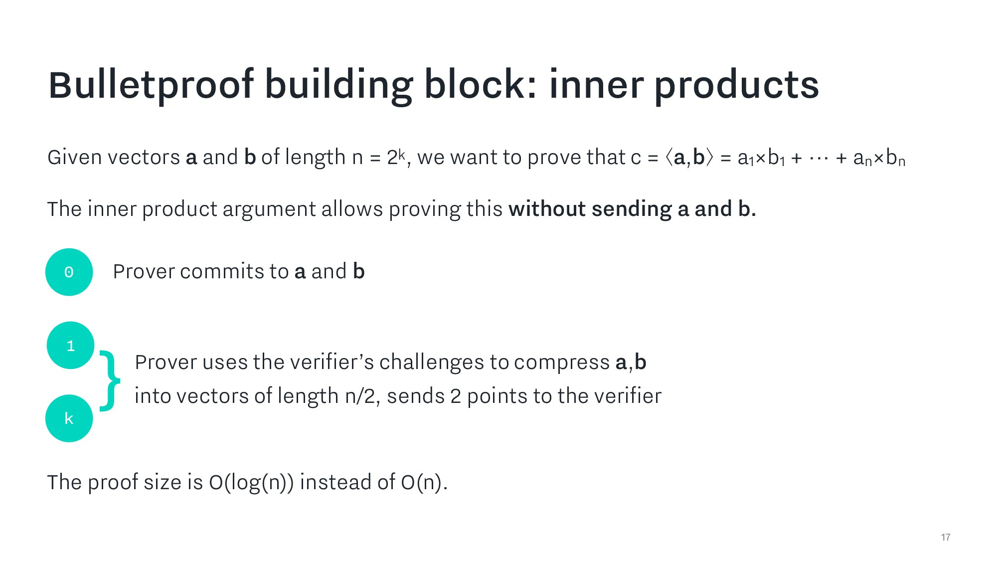 17 Bulletproof building block: inner products G...