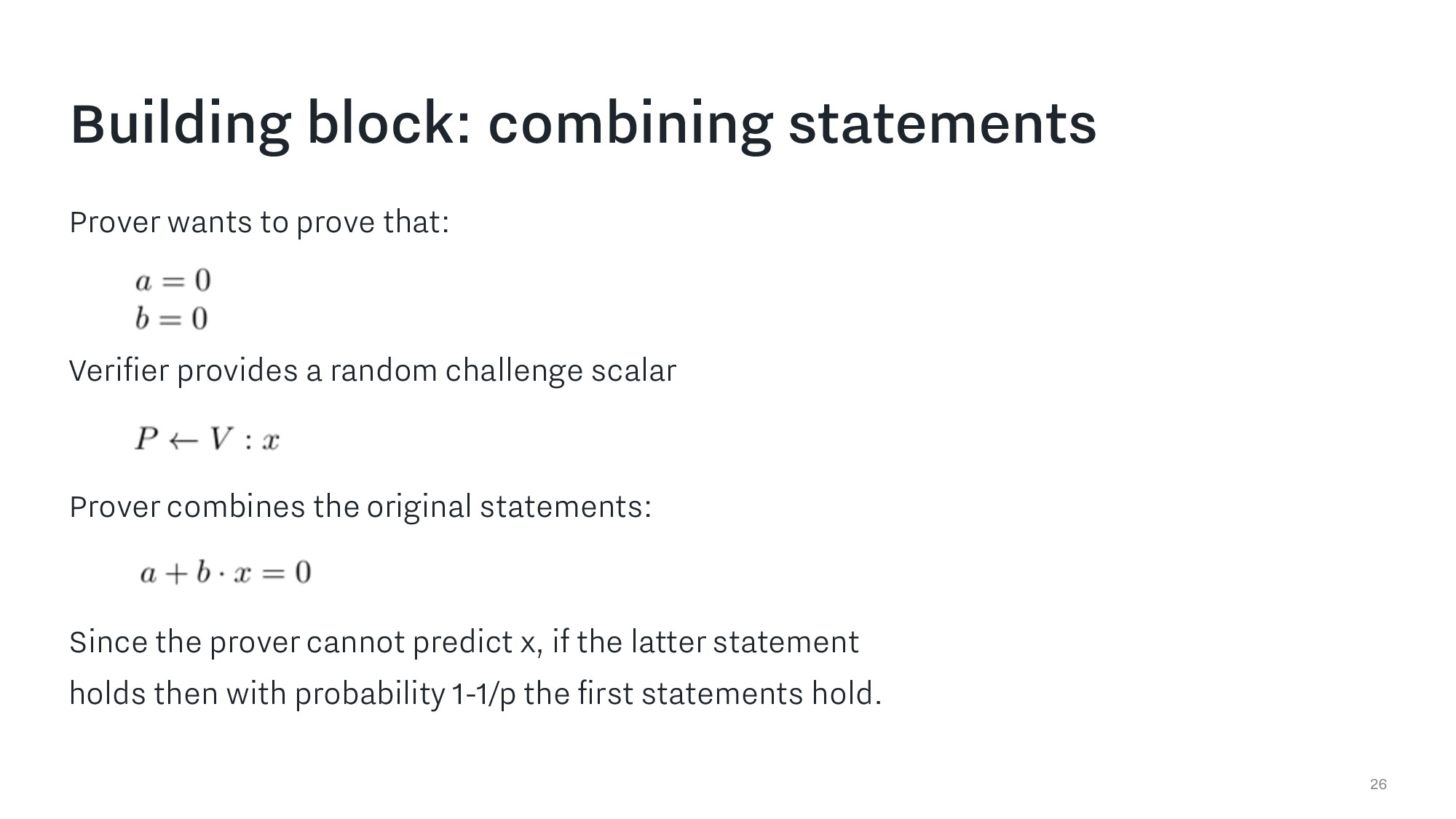 Building block: combining statements 26 Prover ...