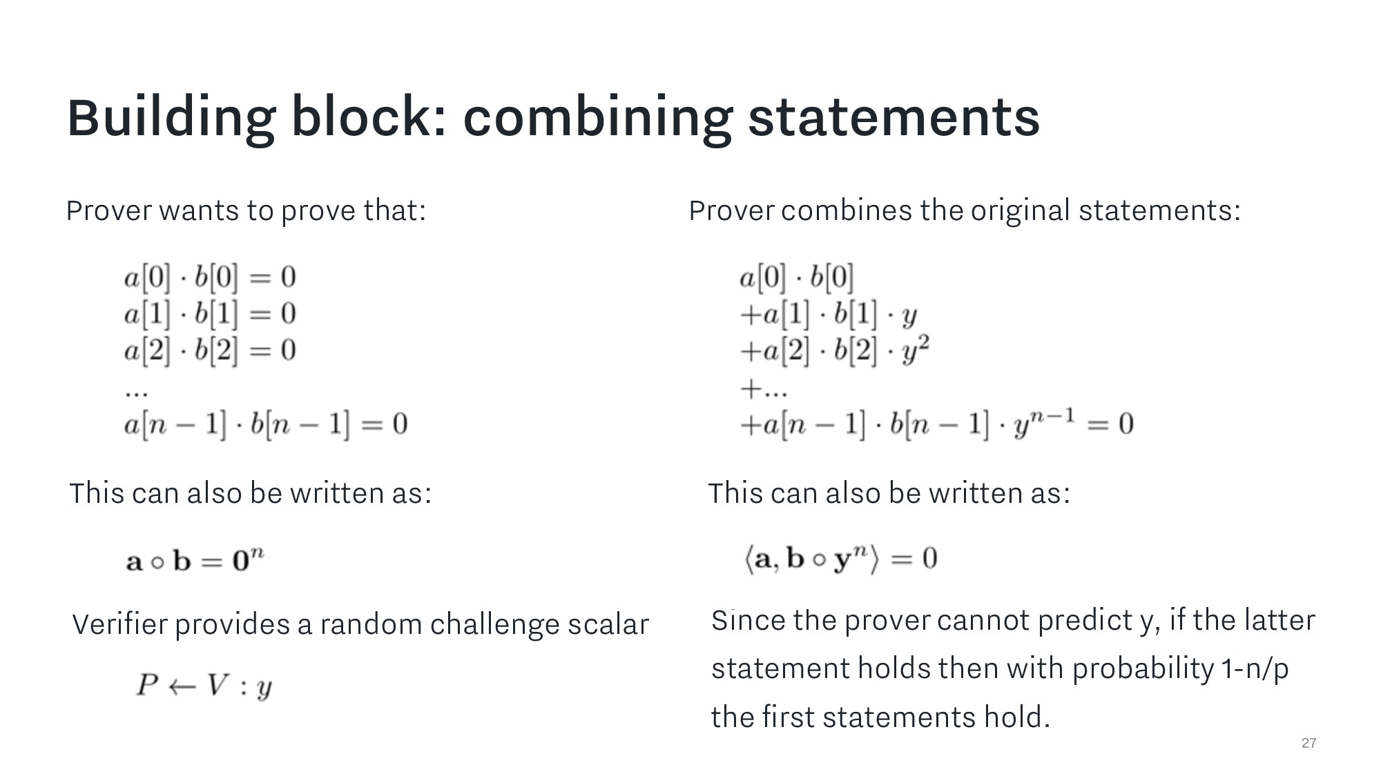 Building block: combining statements 27 Prover ...