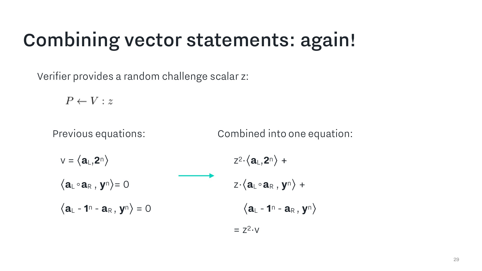 Combining vector statements: again! 29 Combined...