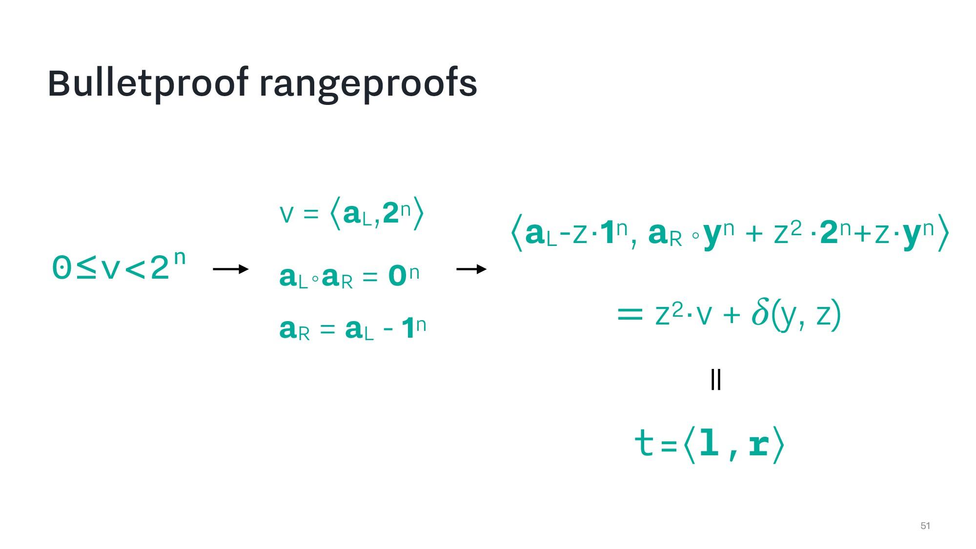 Bulletproof rangeproofs 51 0≤v<2n t=⟨l,r⟩ v = ⟨...