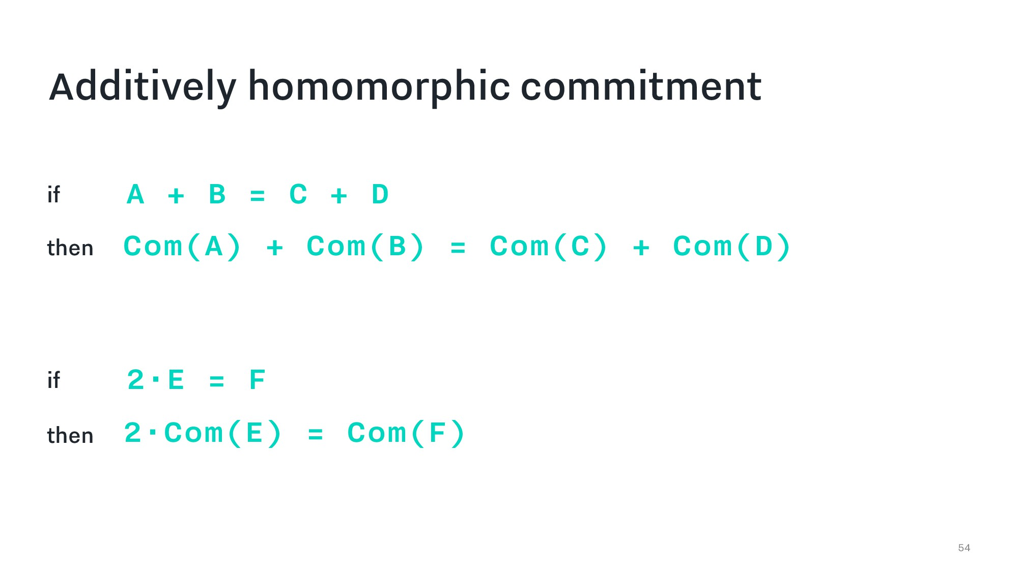 54 Additively homomorphic commitment if A + B =...